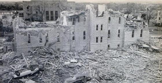 Damage at Washburn University. (credit)