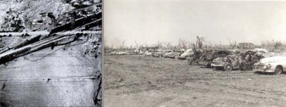 At left, ground scouring just east of town. At right, an area near the high school that appears to have been stripped bare (as evidenced by the tire tracks, which are a common sight in ground effected by F5 winds). (Right image from the Udall Historical Society)