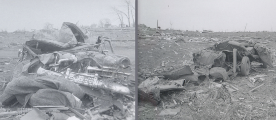 Extreme damage to cars near Port Sheldon Street. Vehicles in the 1950's were significantly heavier and, theoretically, more difficult to damage than contemporary light-weight cars. Two fatalities occurred when a car was swept off of Port Sheldon Street and thrown more than 100 yards. (Images by Thelma Bakker)