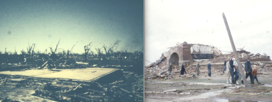 At right, the foundation of a home that was swept completely away. Nearly every home south of 2nd Street was obliterated in F5 fashion. At right, a school with thick brick walls was nearly leveled to the ground. (Images from the Wichita Eagle)