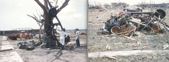Vehicles across town were thrown long distances and mangled beyond recognition. At left, the tornado's most iconic sight was the remains of a truck wrapped around a tree near the high school. A postcard from the time wrote that the (very likely deceased) driver was found a quarter mile away.
