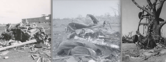 Vehicle damage is one way to ascertain the intensity of historical tornadoes. Cars built pre-1960 were significantly heavier and, likely, more difficult to damage than modern, light-weight vehicles. At left, extreme vehicle damage following the 1953 Beecher tornado. At center, a destroyed car after the 1956 Hudsonville tornado. At right, a truck stripped to its frame following a tornado in Udall, Kansas, in 1955.