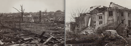 More scenes of devastation. The heavily damaged mansion at right is similar to nearby residences that were reduced to their foundations. The three-story Huffman house was swept completely away, leading to several fatalities.