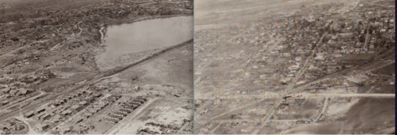 Aerial views of damage in Tupelo. At left, looking northeast at the tornado's path through the city. Gum Pond is visible at distance.