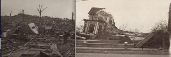 Catastrophic damage following the 1936 Tupelo tornado.