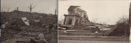 Catastrophic damage following the 1936 Tupelo tornado.