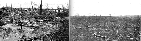 "At left, the remains of the Hoffman mansion, which was swept down to its baseboards, leading to several fatalities. At right, a field that was ""stripped bare"" just east of town. (Mississippi State Geological Survey, 1936)"
