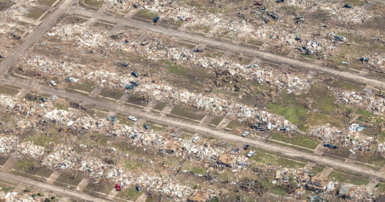 Extreme home damage in western Moore. The width and extent of the home damage in areas west of the I-35 was more intense than the damage caused by the 1999 storm. (Image by David McNeese)