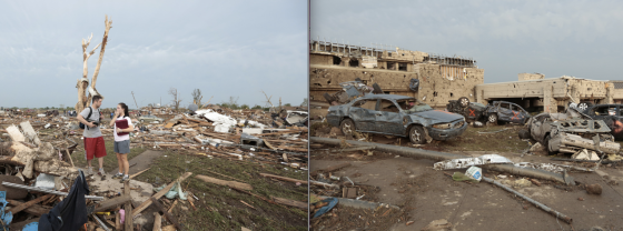 At left, a tree stripped completely of bark and branches, an indication of probable EF5 winds. At right, extreme damage to the well-constructed Moore Medical Center. (Images by Brett Deering)