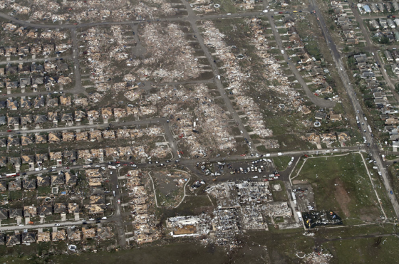 Briarwood Elementary School (bottom) was impacted directly by the tornado as it entered a densely populated section of Moore. (Image by Steve Gooch)