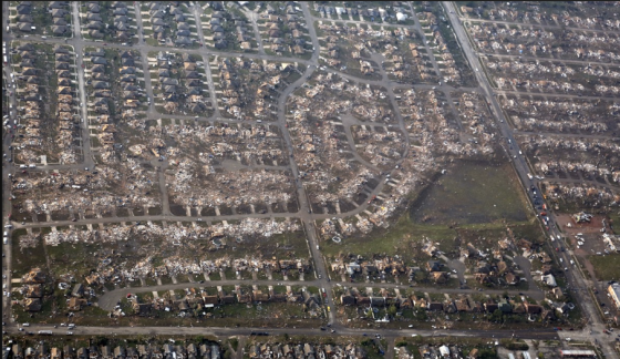 Aerial view of extreme tornado damage. While initially reported as being in excess of two miles wide, the tornado's primary damage path was approximately 500 yards wide. (Image by Steve Gooch)