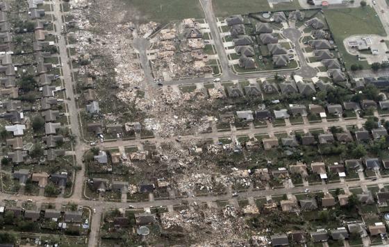 In eastern Moore, the tornado narrowed and left a streak of borderline EF5 damage. (Image by Steve Gooch)