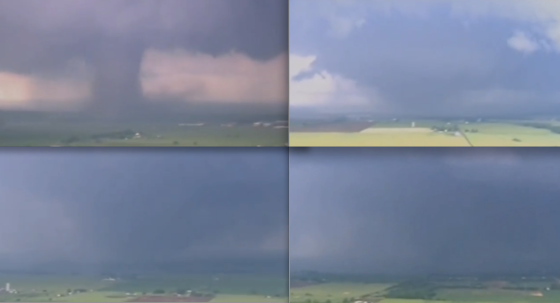 Still frames of the catastrophic Moore tornado. At top left, view of the tornado several miles east of Bridge Creek as it rapidly intensifies. The tornado widened to over a half mile in width as it thundered to the east-northeast at approximately 35mph. At bottom left, the tornado became rain wrapped as it crossed the Canadian River into Cleveland County. At bottom right, the appearance of the tornado as it entered the western edge of Moore.