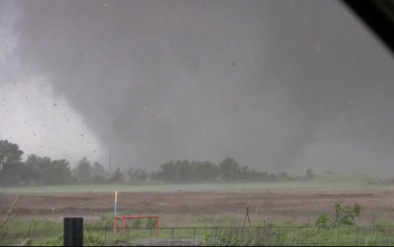 View of the Moore tornado less than two minutes before it entered the city. (Video stills by David Demko and Heidi Farrar)