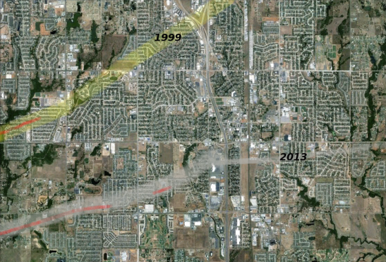 Graphic depicting the tracks of the 1999 and 2013 tornadoes, with red denoting areas of EF5 damage (intensity estimates for the 2013 storm are subjectively based on my experience and may differ slightly from the final NWS report). The Bridge Creek tornado was nearing the end of its intensity maxima when it reached the edge of Moore but continued causing high-end EF4 damage all the way to Midwest City (out of frame at top). The 2013 tornado, by contrast, fluctuated in strength but may have left an intermittent trail of EF5 damage up until just northeast of Plaza Towers Elementary School. The storm changed direction and narrowed significantly after crossing the I-35 but continued leaving a thin streak of extreme damage until finally weakening in eastern Moore.