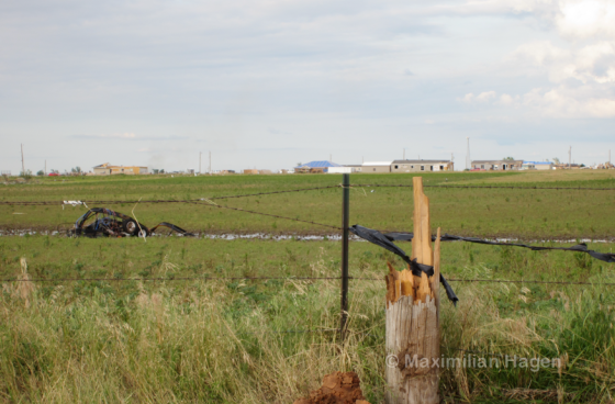 A quarter mile south of the I-40, an RV park was severely damaged in the tornado. A vehicle from the facility was thrown several hundred yards. Most of the powerlines along XX Street were snapped above the ground.