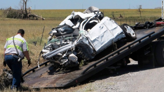 A white truck driven by iconic storm chaser Tim Samaras, his son, Paul Samaras, and chase partner, Carl Young.