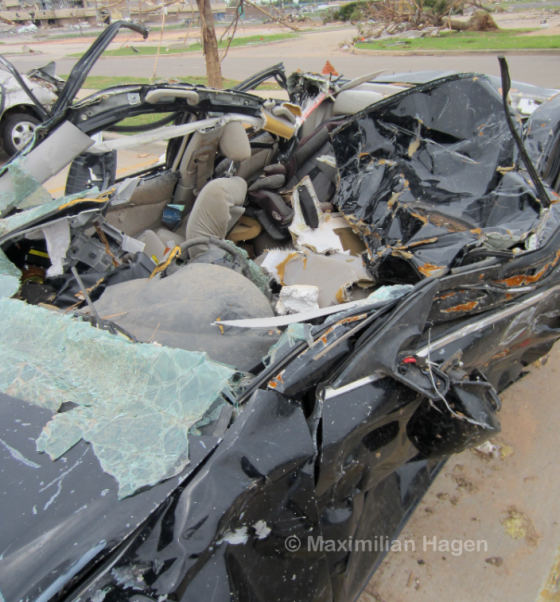 Dozens of vehicles were mangled beyond recognition in the medical center's parking lot.