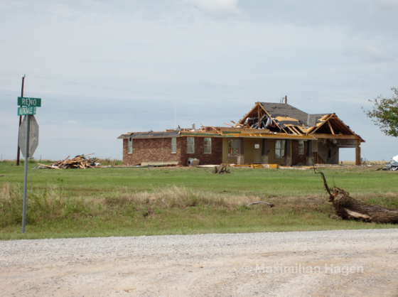 A home on Reno Road experienced EF2 damage.