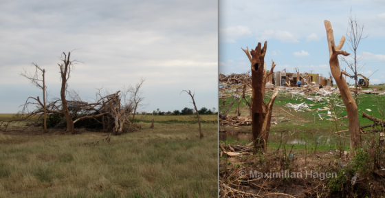The vegetation damage from the El Reno tornado was noticeably less intense than the damage caused by the 2013 Moore tornado.