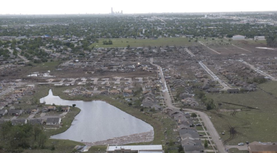 "The tornado caused EF5 damage to a row of homes just south of Plaza Towers Elementary. Most of the homes were large but likely not of ""superior construction,"" a"