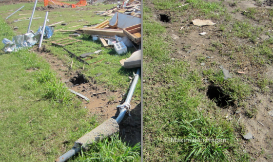Metal fence posts anchored 18' deep in concrete were a common site throughout the damage zones. Fence posts adjacent to homes with EF3 damage were bent nearly to the ground, whereas the posts were removed entirely in the worst affected areas.