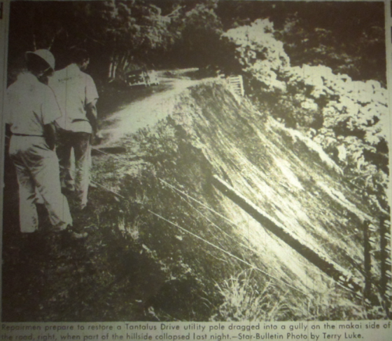 A tropical storm in 1958 made landfall near Hilo on the Big Island, the only such storm to do so since 1950. On Oahu, heavy rainfall led to a landslide on Tantalus. (Star Bulletin, 1958)