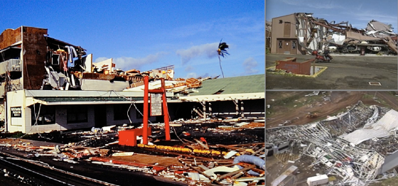 Hurricane Iniki caused some of the most severe wind damage ever photographed in the United States. At left, severe damage to buildings in central Lihue (Image by Brian Howell). At right, dozens of industrial buildings were leveled or left as piles of twisted metal.