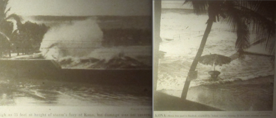 High waves crash onto Alii Drive in Kailua-Kona. Waves of 35ft were recorded on the normally calm southwestern shores of the Big Island, breaking far offshore in a manner not seen before in living memory.