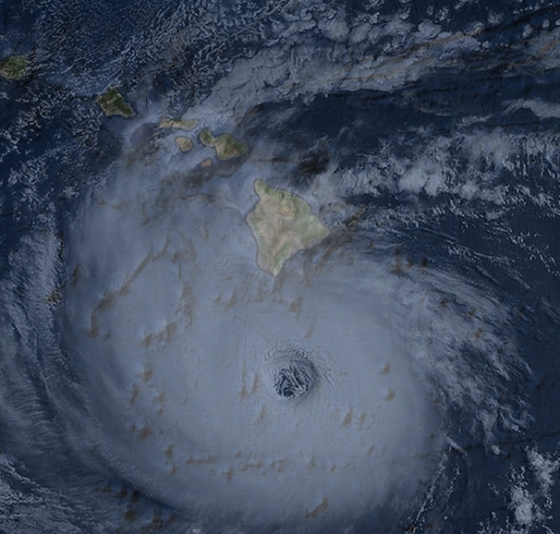 Hurricane Dot passed 90 miles south of the Big Island as a category 4 hurricane before turning to the northwest and making landfall on Kauai with winds of 90mph. Pictured is an illustration of the storm on the evening of August 6th.