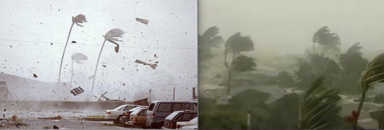 Hurricane Iniki made landfall in the early afternoon, allowing dozens of videographers to document the storm. At right, footage of a large surge-driven wave inundating a resort in Poipu.