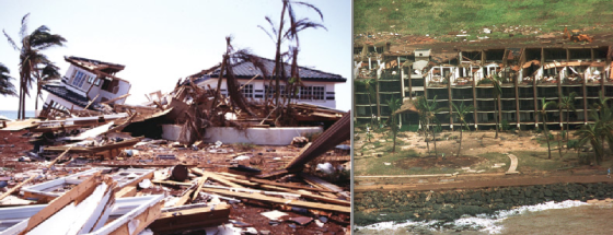At left, extreme wind and storm surge damage near Poipu. At right, a severely damaged oceanfront complex on Kauai. The debris line behind the building reveals the high water mark.