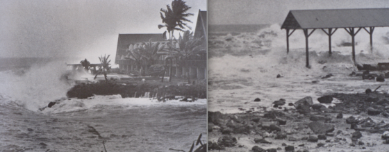 Hurricane Iwa battering Poipu, Kauai, with 35ft waves and wind gusts in excess of 90mph.