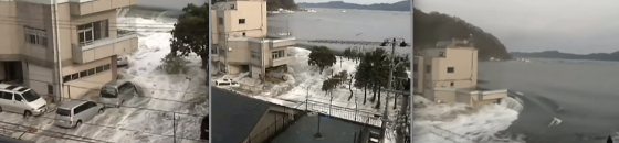 Multiple residents captured the tsunami inundating a seaside neighborhood in Kamaishi. The water reached the third floor of large apartment complexes and swept away most wood-framed structures.