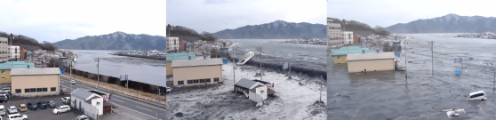 The tsunami entered Miyako Bay from the northeast and caused run-up heights between