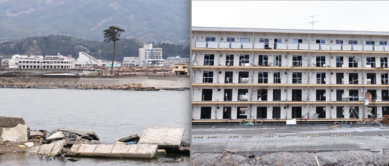 At left, the only tree remaining in Rikuzentakata's tsunami defense forest. At right, the bottom four floors of an apartment complex were completely submerged by the tsunami.