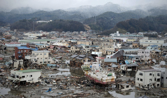 The flatlands of Kesennuma were inundated with flow depths in excess of 15ft, causing the complete destruction of many wood-framed structures. A large area near the mouth of the Okawa River was swept almost completely clean.