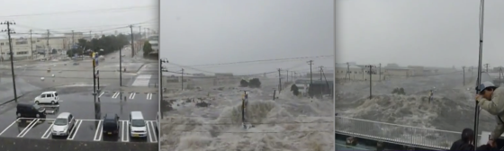 A videographer captured a city block being rapidly inundated by fast-moving water at Ishinomaki Gas, located a third of a mile inland from Ishinomaki port. Ishinomaki had the most documented fatalities of any city following the catastrophic tsunami.