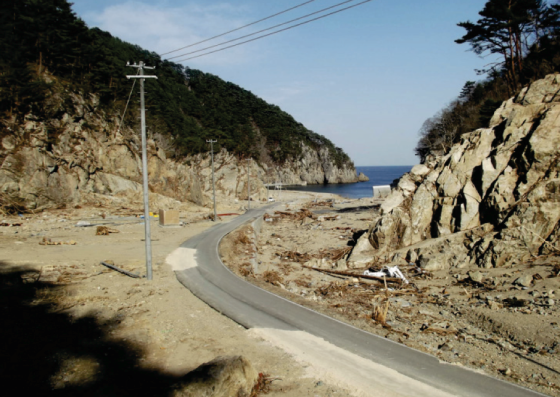 The greatest tsunami run-up height ever recorded as a result of a seismic event occurred in this fishing cove southeast of Miyako City.