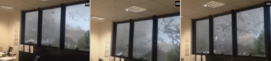 Cellphone footage captured the 2013 Milan tornado as it passed over an office building.